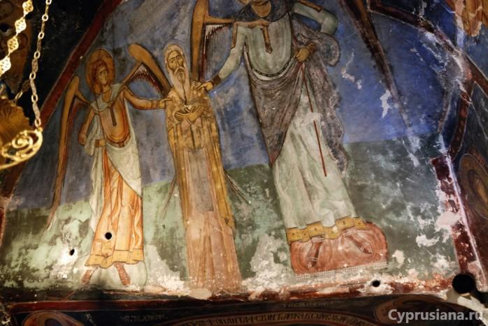 Святой Неофит с архангелами Михаилом и Гавриилом