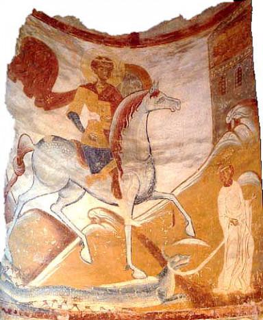 Чудо Георгия о змие. Роспись Георгиевской церкви в Старой Ладоге. Третья четверть XII века