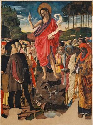 Проповедь Иоанна Крестителя. Хоругвь. XV век. Из оратория Сан Джованни в Урбино (Галерея провинции Марке, Урбино)