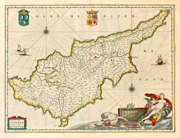 Карта Кипра Блау 1650