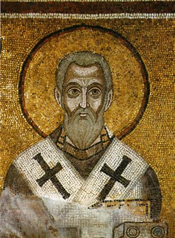 Святитель Епифаний Кипрский. Мозаика в апсиде Софии Киевской. 1040-е годы