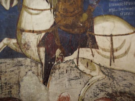Святой Георгий из церкви Асину. Посадка всадника