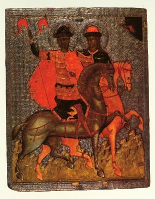 Борис и Глеб на конях. Около 1377 года. Новгородский музей