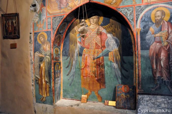 Архангел Михаил. 1521 год. Роспись на стене южной арочной ниши в церкви св. Креста в Киперунта