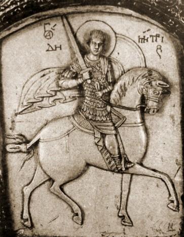 Димитрий Солунский. Стеатитовая иконка. Конец XIII – начало XIV века. Музеи Московского Кремля