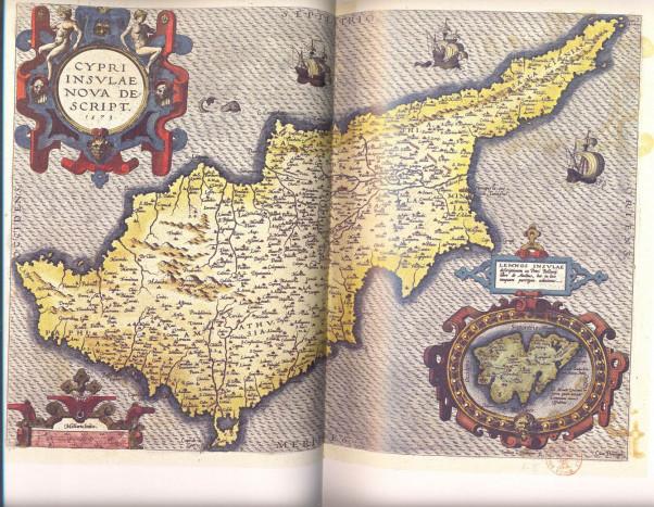 Карта Кипра, сопровождающая описание острова (Cipri insulae nuovo description) в атласе 'Theatrum orbis terrarium'. 1574. Джакомо Франко.