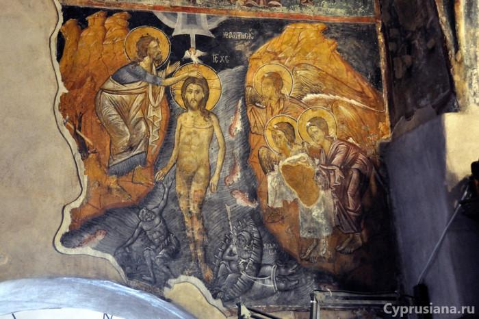 Богоявление (Крещение).Роспись церкви Параскевы Пятницы в Иероскипу. Конец XV века