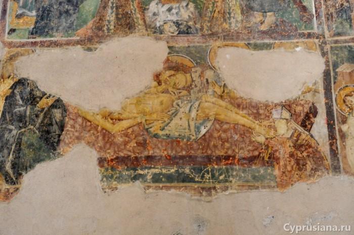 Положение во гроб с припадающим латинским прелатом