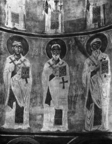 Лазарь Друг Божий, епископ Китийский. Фреска в апсиде церкви Спана Нередицы в Новгороде. 1199
